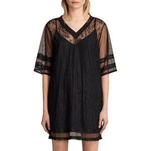 All Saints Chezza Lace T-Shirt Dress Mini Black XS